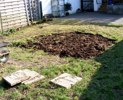 Garten projekt 1 vertiefung begradigen abgeschlossen for Garten pool untergrund
